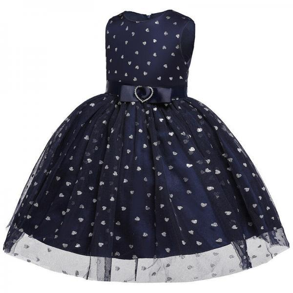 Cute Kids Girl Sleeveless Summer Lace Tulle Tutu Dress Wedding Pageant Gown 0-6Y navy blue