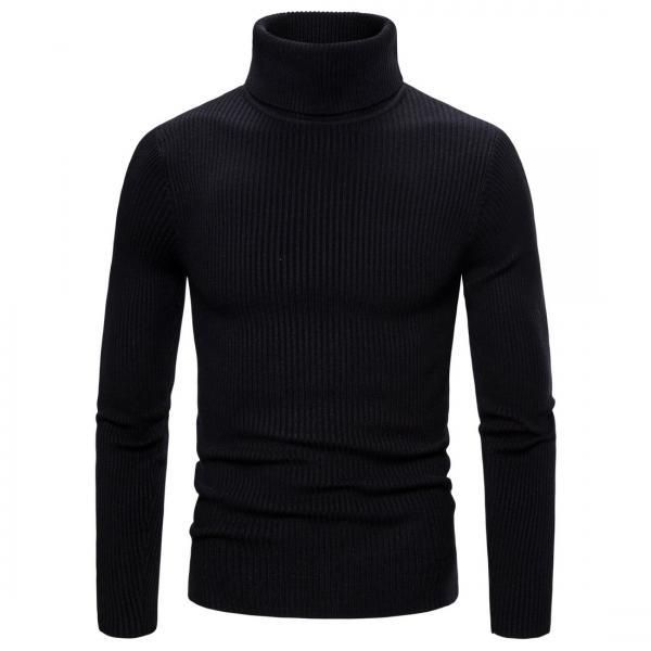 New Spring Autumn men Sweaters Clothing High Elastic Base Shirt High Lapel Solid Color Mens Sweaters black