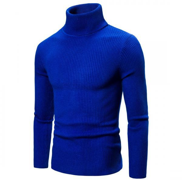 New Spring Autumn men Sweaters Clothing High Elastic Base Shirt High Lapel Solid Color Mens Sweaters blue