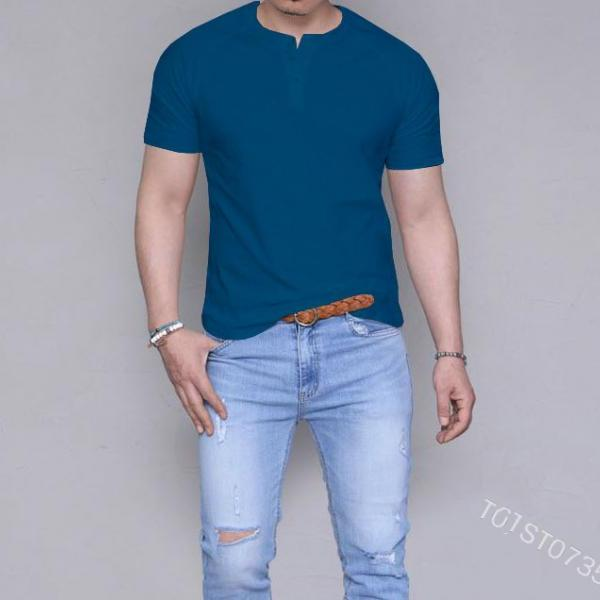 Mens Short Sleeve T Shirt 2019 New Summer Fashion Sexy Solid Color Casual Breatnable Comfortable Shirt Tops blue