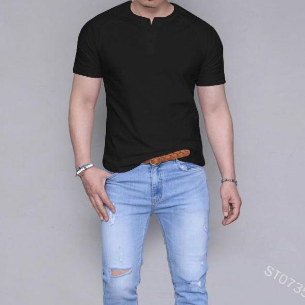 Mens Short Sleeve T Shirt 2019 New Summer Fashion Sexy Solid Color Casual Breatnable Comfortable Shirt Tops black