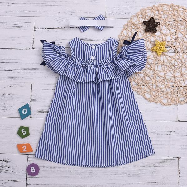 Hot New Summer Dress Toddler Kids Baby Girls Lovely Birthday Clothes Blue Striped Off-shoulder Ruffles Party Gown Dresses