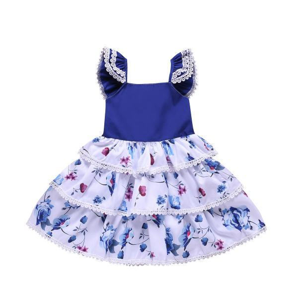 Kid Baby Girl Cothes Flying sleeve Blue Cute Girl Layered Dress Floral Dress Clothing Outfit