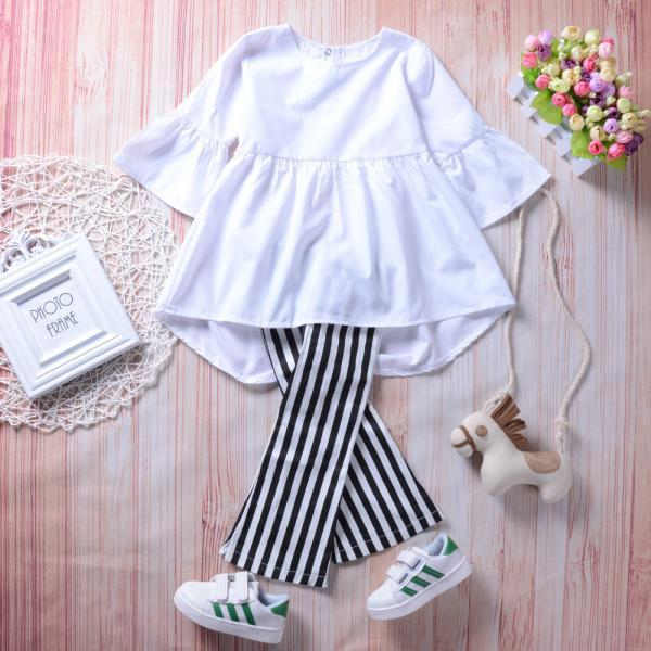 2020 Fashion Girls Clothing Suit Flare Sleeve Ruffles Solid White A-line Tops+Stripe Pants 1-6y Kid Girls Clothes Set