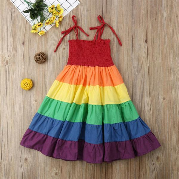 Summer Girls Rainbow Dress Toddler Kids Baby Clothes Strap Princess Tutu Dress
