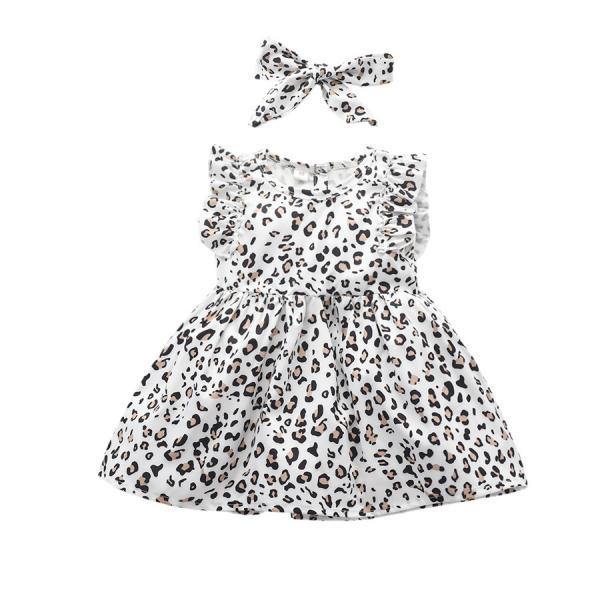 Toddler Kid Baby Girl Leopard Dress Sleeveless Ruffle Party Sundress+Headband