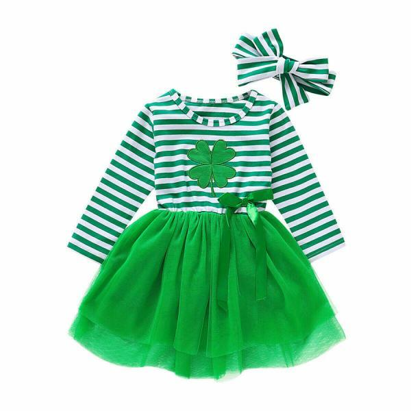 Toddler Baby Kid Girl Striped Tutu Dress Party Princess St.Patrick's Day Clothes