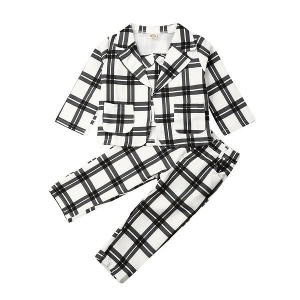 3Pcs Set Kids Baby Girls Clothes Plaid Coat Tops+Undercoat+Long Pants Outfits