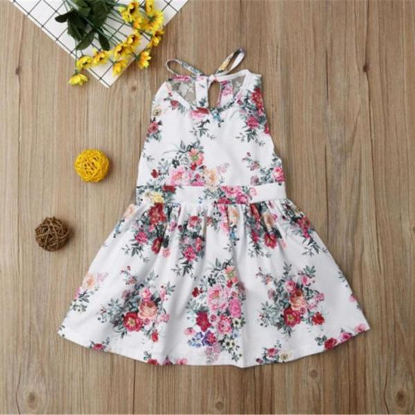 New summer sleeveless flower print lace princess skirt girl lace dress