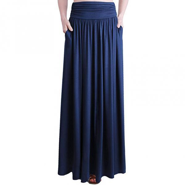 Vintage Summer Women Trend Skirts Pocket High Quality Solid bow Ankle-Length Long Skirt