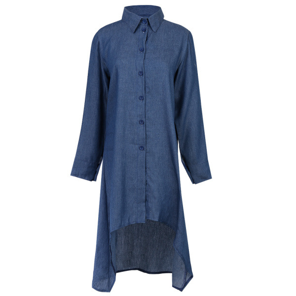 Fashion Summer Women Shirt Dress Long Sleeve Denim Casual Turn-down Collar Ruffle Loose Party Clothes