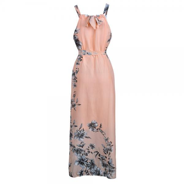 New Fashion Women Casual Floral Dress Sleeveless Chiffon Summer Beach Long Party Dress