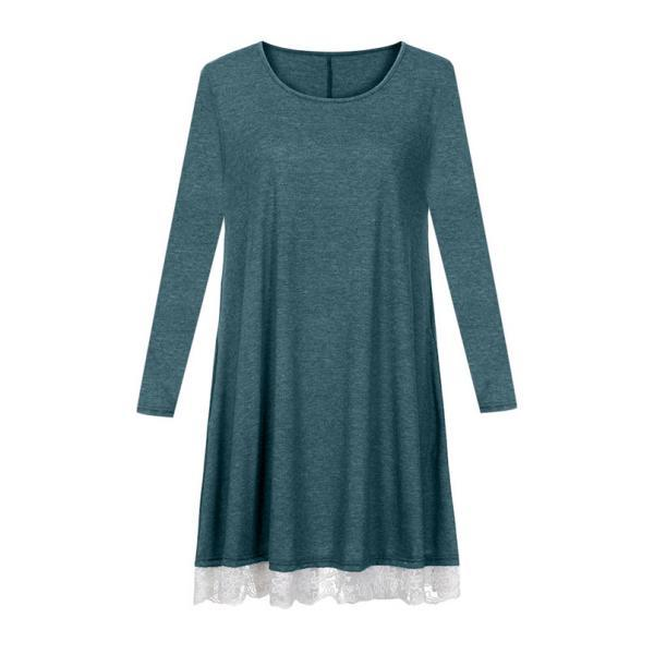 Women Casual dresses O Neck Lace Solid Long Sleeve Loose Mini Cotton blend Loose Plus Size dress