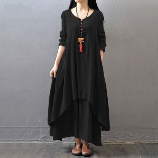 New Retro Summer Dress Women O-Neck Full Sleeve Elegant Casual Solid Baggy Long Dress