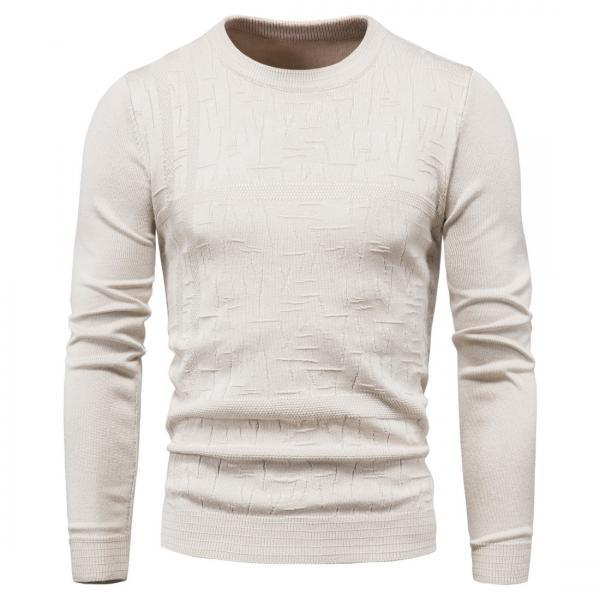 Autumn Clothing Men Sweater Bottoming Shirt Round Neck Solid Color Long-Sleeved Pullover