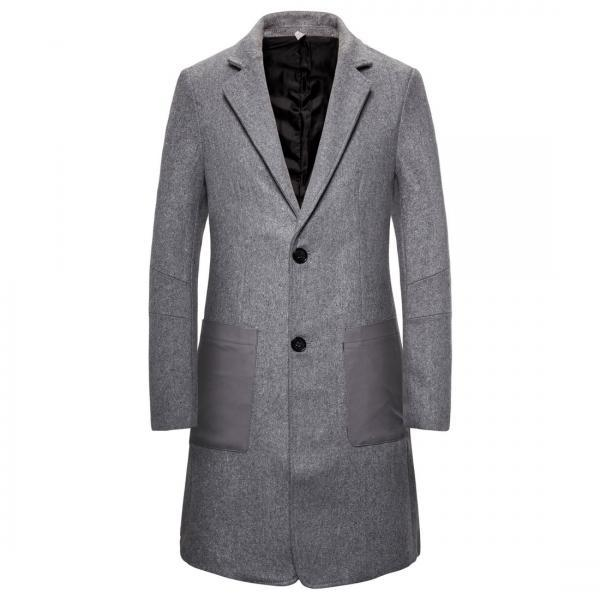 New Arrivals Men Winter Wool Blends Trench Coat Style Slim Fit Long Windbreaker Jacket Overcoat
