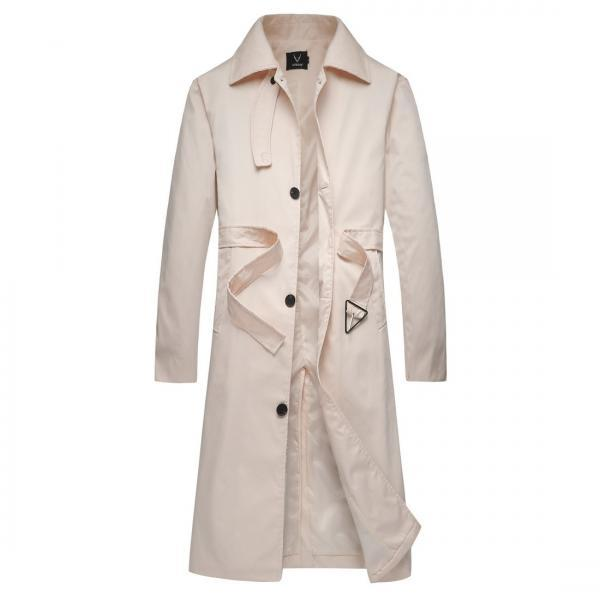 Men Trench Coat Clothing Spring Autumn lapel Plus Size Mid-Length Buttons belt Long Solid Coat