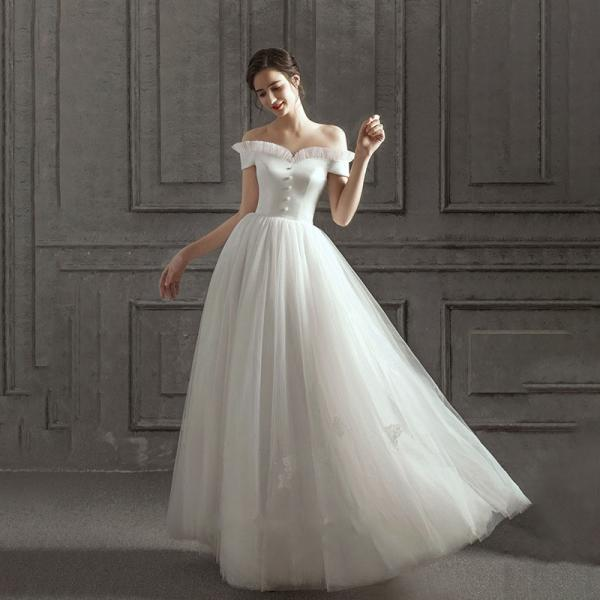 Fashion A line Sweep/Brush Wedding dress Off-the-Shoulder Button lace up bride Dress