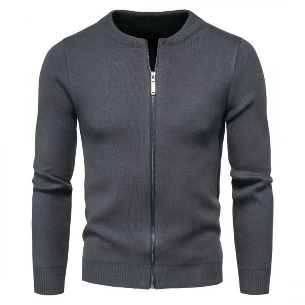 Men knit sweater round neck zipper cardigan business casual fashion solid color Plus Size cardigan outer wear sweater