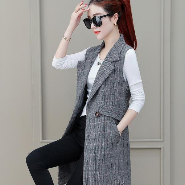 Women Suit Waistcoat Spring Autumn New Style Western Style Outer Vest Waistcoat Mid-length Thin Coat