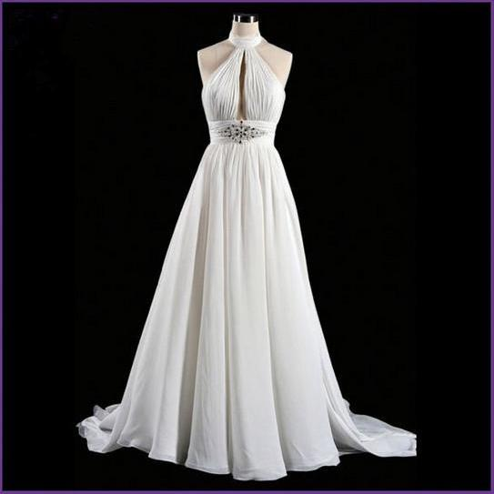 Sexy Elegant Custom Made Beach Wedding Dress Halter A Line Backless Chiffon Bridal Dresses