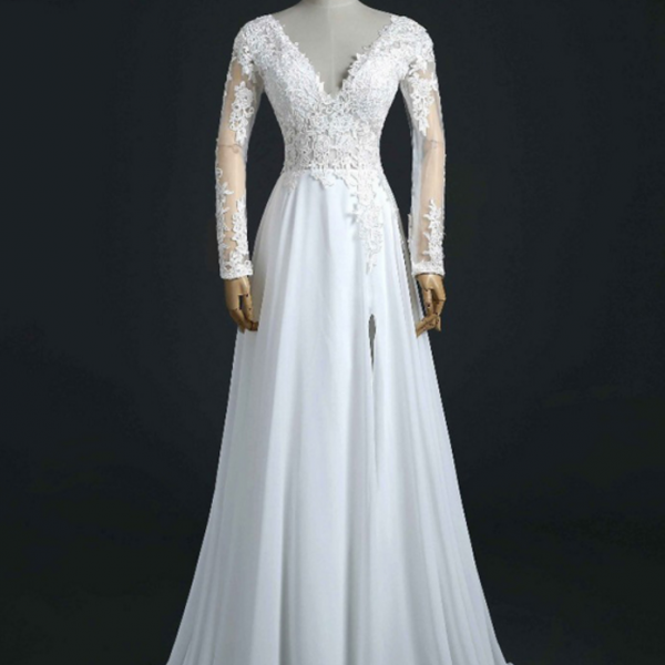 Shining V-Neck Applique Long Sleeveless Chiffon Wedding Dress A-Line Side Split Bridal Dress,