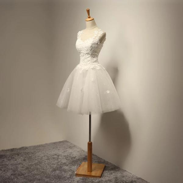 vintage short Applique wedding dress O Neck tulle mini Bridal Dress