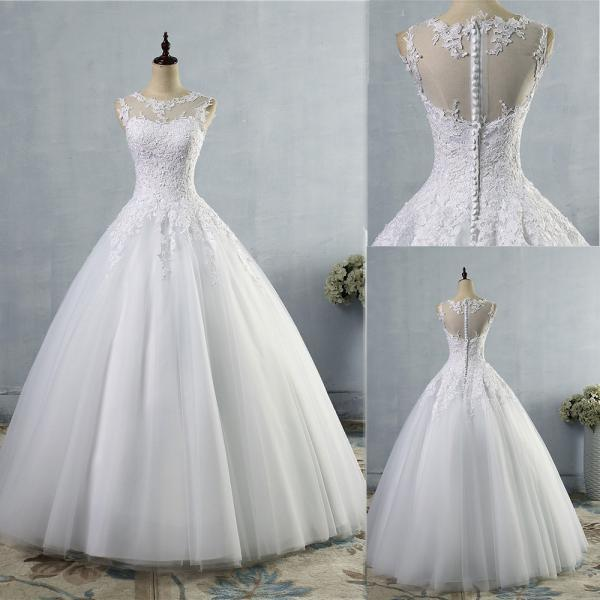 Women wedding dress plus size O neck sleeveless lace ball gown bridal dress