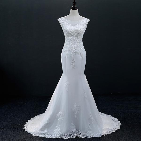 Women wedding dress plus size O neck luxury lace mermaid bridal dress custom made
