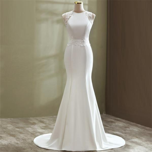 Fashion Women mermaid wedding dress plus size O neck Satin Court Train Lace bridal dress custom