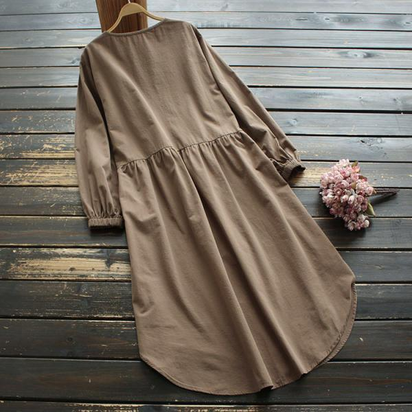 Women Casual dress Baggy Elastic Cuff Long Sleeve Solid Autumn Button Down Tunic Shirt Dress Plus Size Sundress Robe