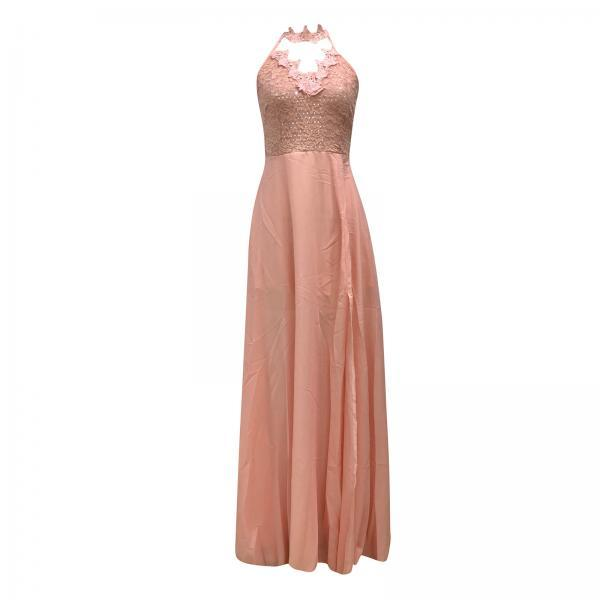 Women Halter Lace Chiffon Ball Evening Dress Backless soild Split Long Prom Formal Gowns