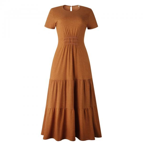 Long Robes T-Shirt Dress Women Elegant Ruched A-Line Casual Ladies Summer Maxi Dresses