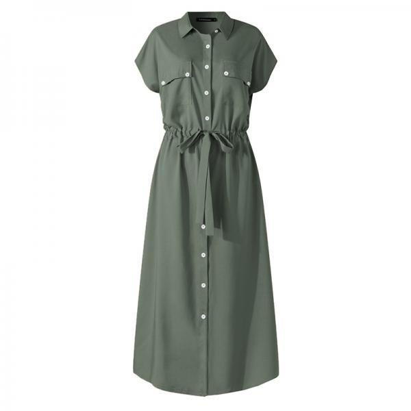 Elegant Dress Women Summer Lapel Short Sleeve Midi Sundress Plus Size Casual Loose Buttons High Waist Work Dress