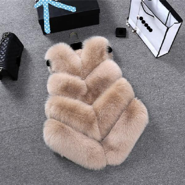 Women New Fashion Faux Fur Coat Winter Coat Waist Coat Fur Gilet Jacket Vest Ladies