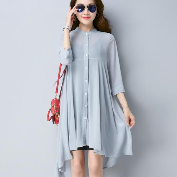 Mid-length chiffon cardigan sunscreen clothing women summer 2021 new loose thin coat air-conditioning shirt was thin larged