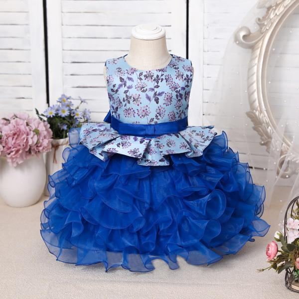 Sky Blue Mini Flower Girls Dresses Tiered Party Clothes Baby Birthday Gowns Kids First Communion Toddler Cupcake Pageant Dress