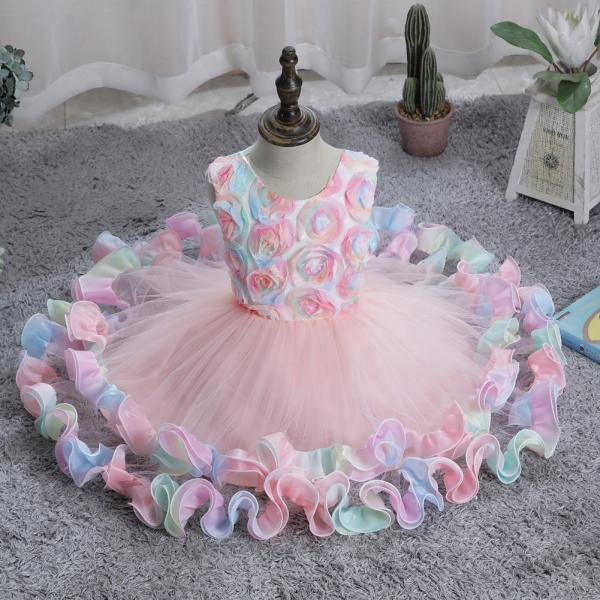 Dress for girls fashion applique mesh fluffy dress princess dress wedding dress girl tulle dress children's clothes party dress