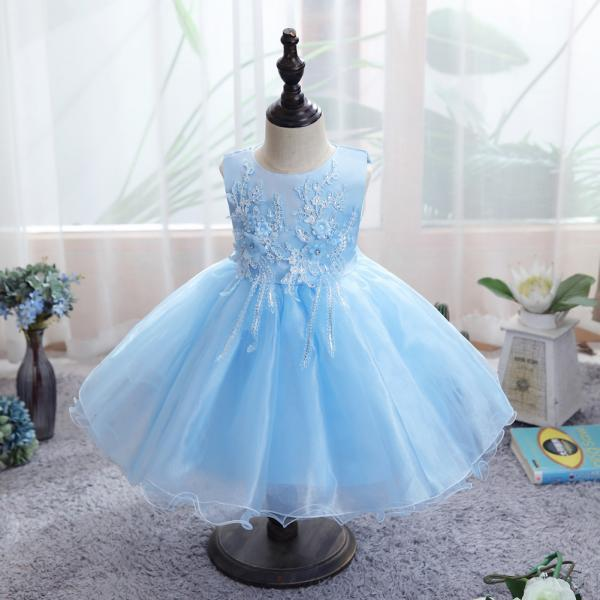Baby girl dress applique lace mesh dress sweet flower girl dress evening dress baby girl clothes dress for girl dress girl party