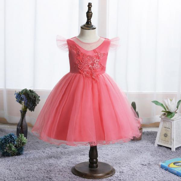 Infant Baby Girls Flower Dresses Christening Newborn Baby Baptism Clothes Princess Lace Trailing 1st Year Birthday Dress
