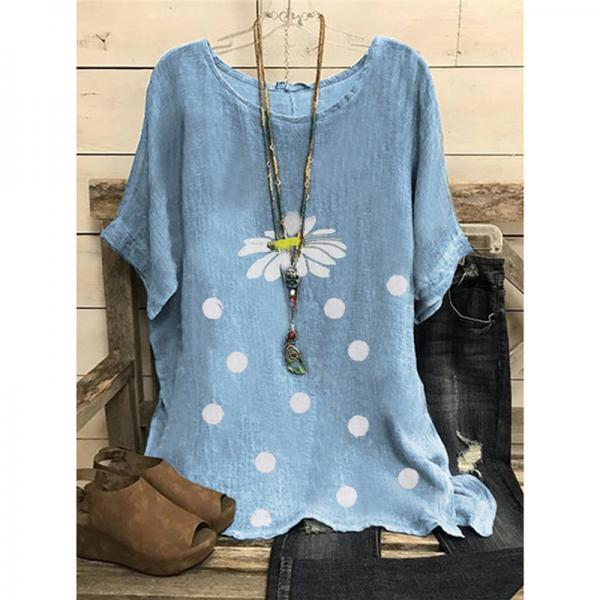 Summer Women Chrysanthemum T Shirt Tunic Blouse Female Retro Casual Vintage Shirt Top