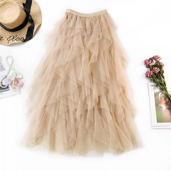 2021 Summer Women Skirt, Women Boho Long Skirt, High Waist Ruffles Women Skirt, Women Beach Skirt, Femme Tulle Midi Skirt