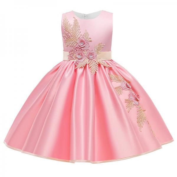 Kids Evening Dresses Summer Formal Dress Children Costume Flower Party Infant Vestido Satin Embroidery