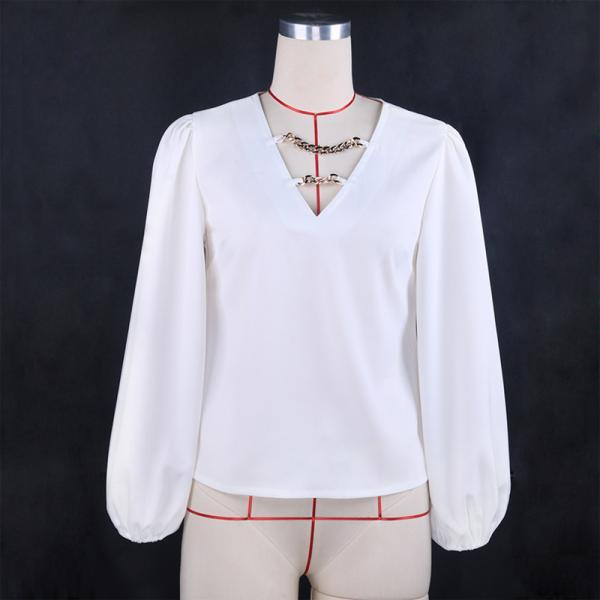 Spring 2021 New Fashion Women Blouses Sexy V-neck Chain Lantern Sleeve Pullover Top Ladies Casual Solid All-match Loose Shirts