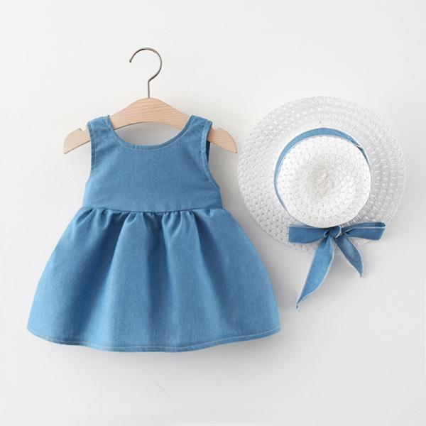 2021 summer new girl dress sleeveless Korean summer solid princess baby children clothes