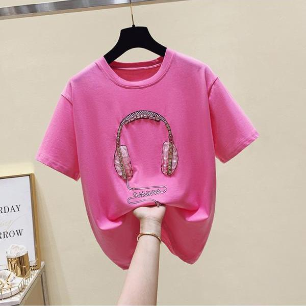 Woman Cotton Summer Short Sleeve Tees O Neck T shirt Plus Size Beading Casual Top Oversized 2021 Big Girls Clothing