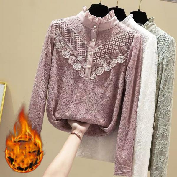 Women Blouse Lace St Collar Lace Shirt solid Long Sleeve Winter Clothes Blouse tops