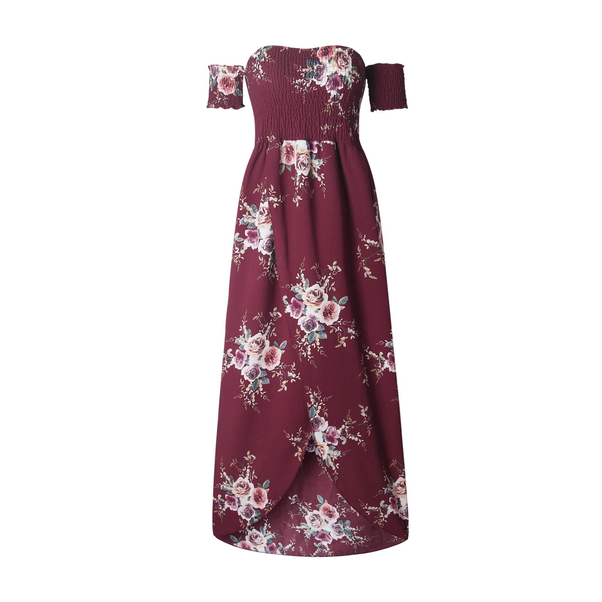 de8e6724fbea Boho Beach Dress Summer Women Off Shoulder High Low Chiffon Floral Print  Maxi SunDress burgundy