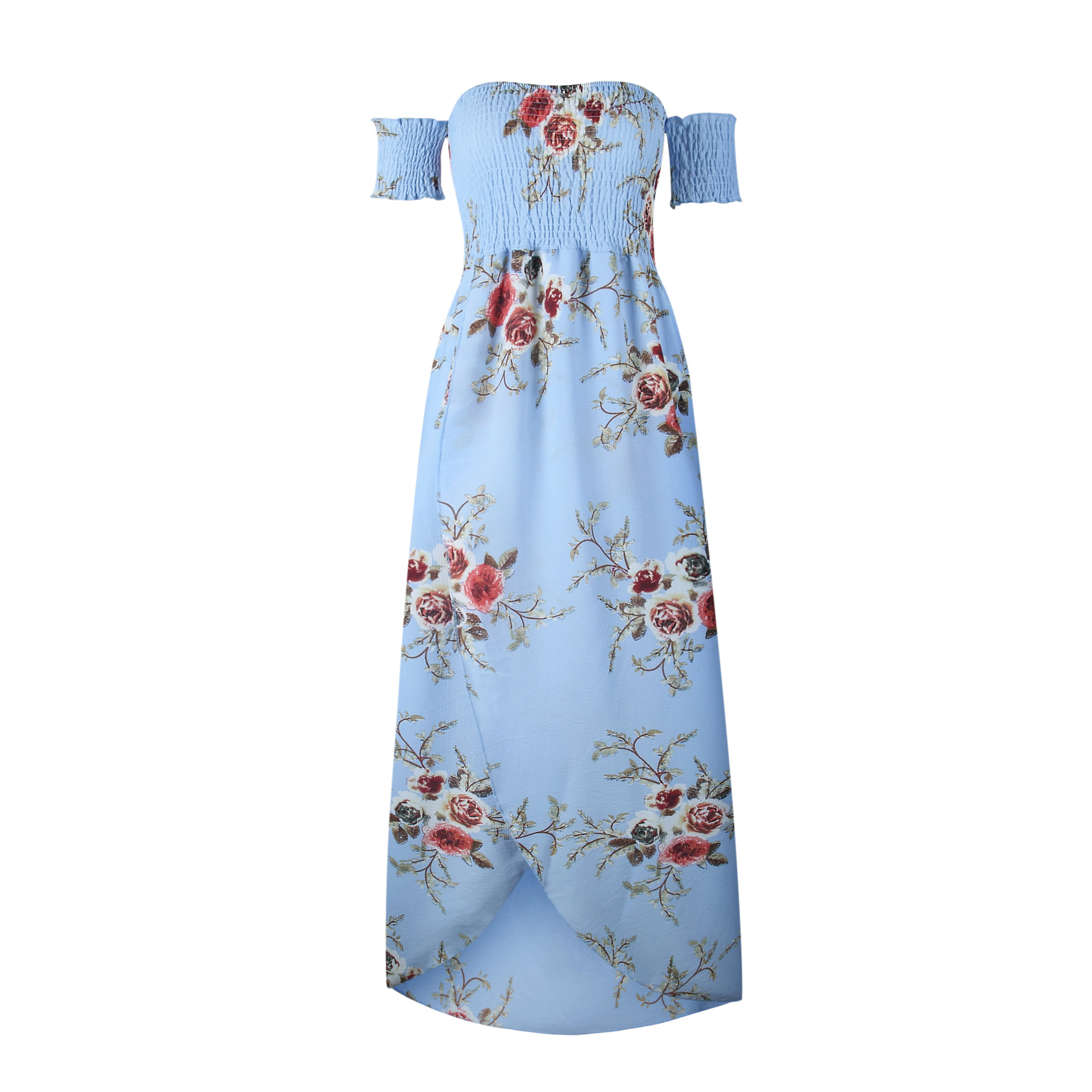 6816e6ab0e6b Boho Beach Dress Summer Women Off Shoulder High Low Chiffon Floral Print  Maxi SunDress Light Blue on Luulla