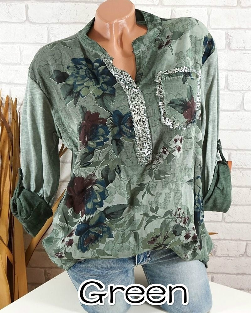 5b6a440e17 Boho Long Sleeve Floral Shirt Women V Neck Loose Tops Sequin Pocket Plus  Size Casual Shirt green